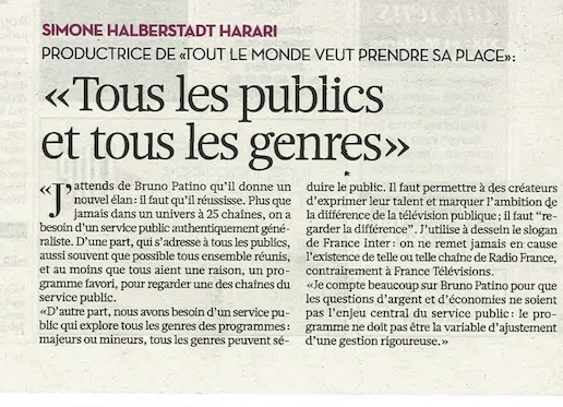 "Simone Halberstadt Harari dans ""Libération"""